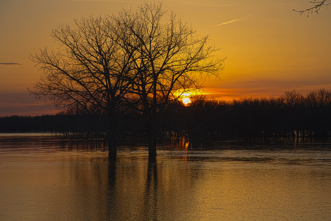 Sunset on the flooded Assiniboine Brandon, Manitoba Canada