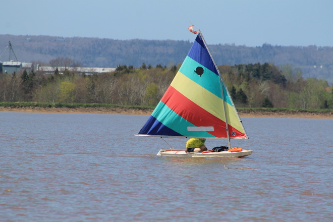 Minas Basin Sailing near Blomidon, Nova Scotia. Just outside of Wolfville Old Dyke Lane, Wolfville, NS, Canada