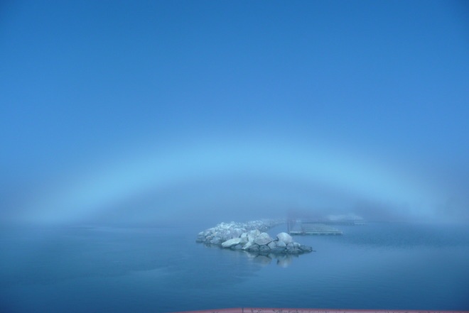 """FOG RAINBOW"" OVER LAKE WINNIPEG Hnausa, MB"