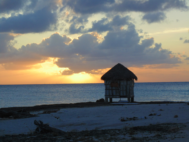 Sunset, and early morning at Playa Pesquero Beach, Cuba