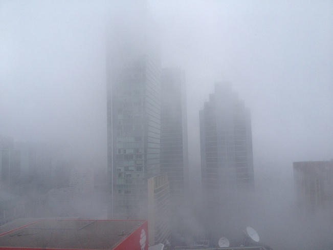 Fog in the city Harbour Front, Ontario Canada