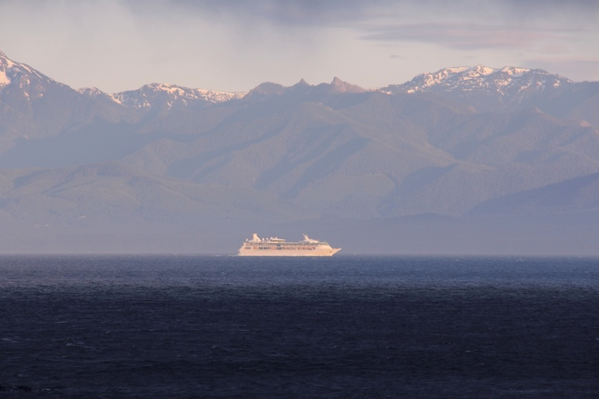 cruise ship leaving Ogden point - overlooking secretary island. Silver Spray Drive, Sooke, BC V9Z 1A8, Canada