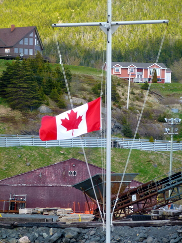 Flag at Half Mast in Bay Bulls, Newfoundland