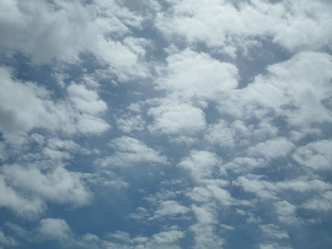 Beautiful Blue Skies/White Fluffy Clouds/E.L. Elliot Lake, Ontario Canada