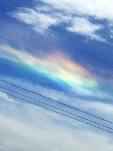 weird rainbow cloud Bassano, Alberta Canada