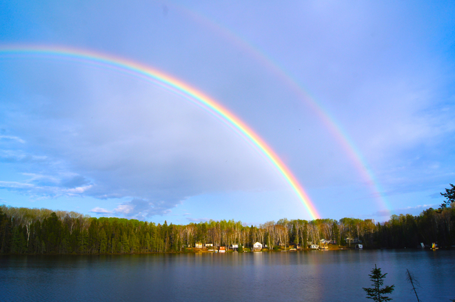 Double Rainbow over McInnis Lake Ontario Timmins, ON