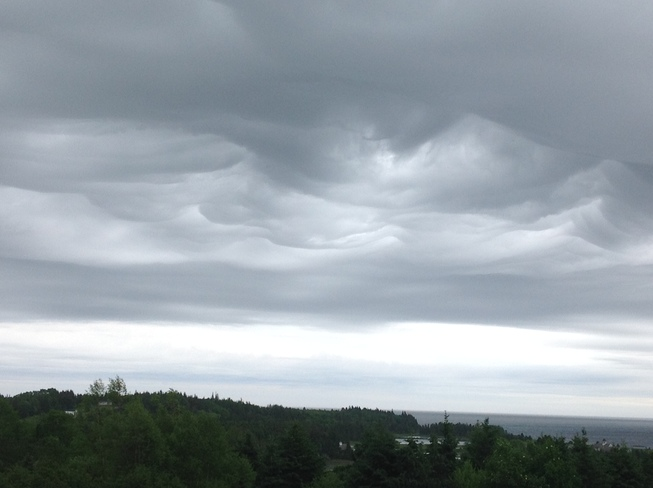 Wavy clouds above the Bay Lunenburg, NS