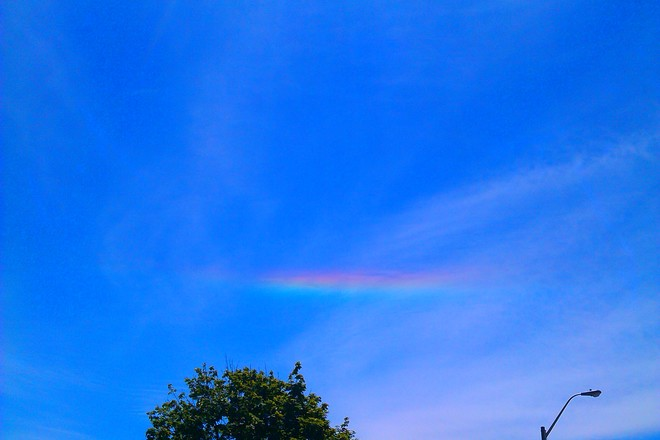 I spotted this rainbow today at about 1 pm. Barely a cloud in the sky, no rain Hamilton, ON