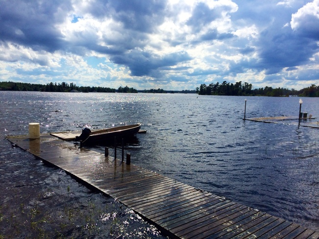 Lake of the Woods rising waters engulf our dock Kenora, Ontario