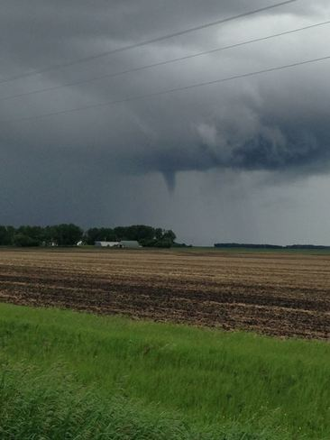 Small funnel spotted 2 miles East of Souris, Manitoba Souris, MB