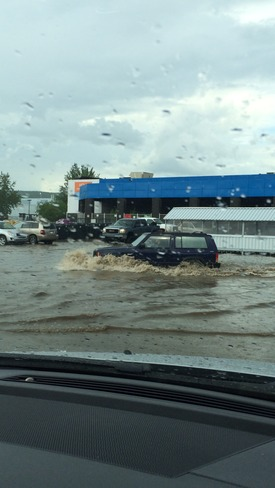 Flood in Super Store parking lot Fort McMurray, AB