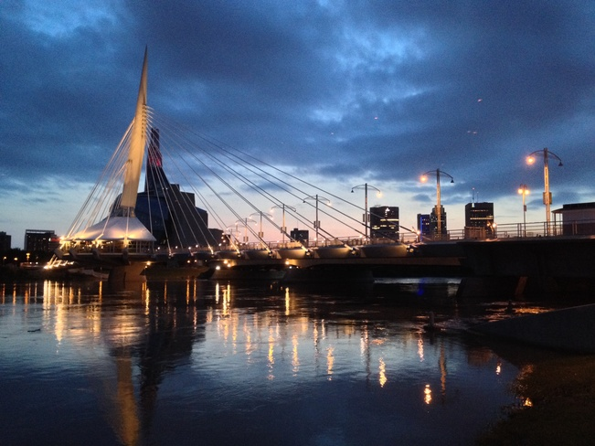 Esplanade Riel bridge at night Winnipeg, Manitoba Canada