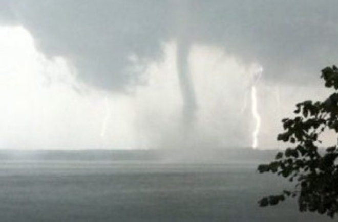 waterspout and lightning Slave Lake, Alberta Canada