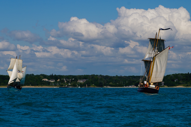 Tall Ships arrive at Bayfield Lakeshore Lane, Bayfield, ON, Canada