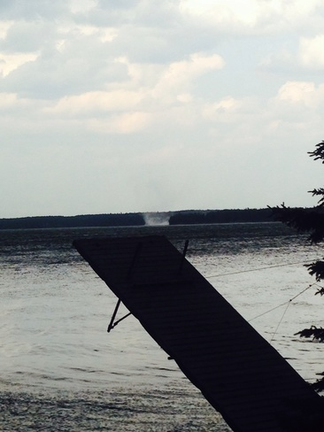 small waterspout Falcon Lake, Manitoba Canada