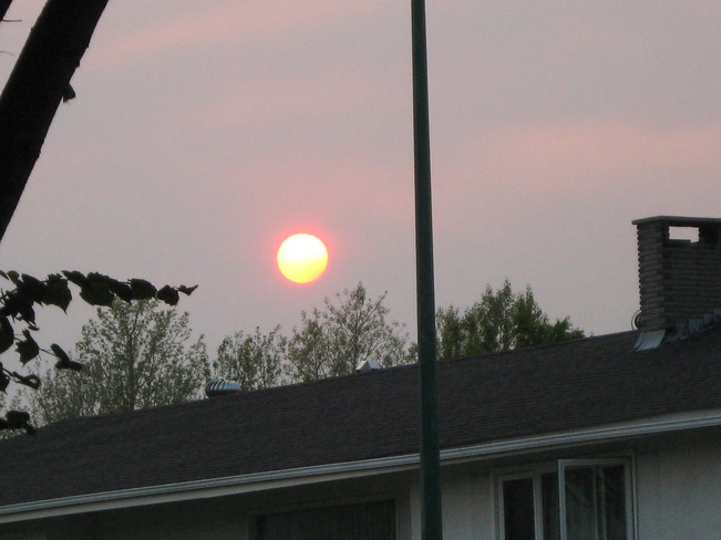 Smoke in the air at sunset Prince George, British Columbia Canada