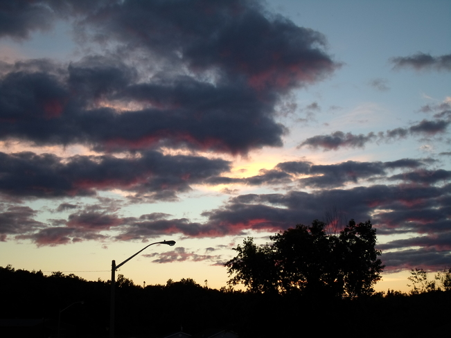 Sunset with DARK CLOUDS/and DARK PINK MIX E.L. Elliot Lake, Ontario Canada
