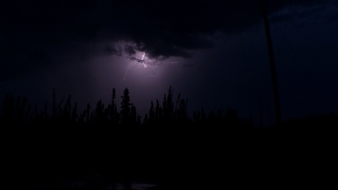 lightning off highway 63. Fort McMurray, Alberta Canada