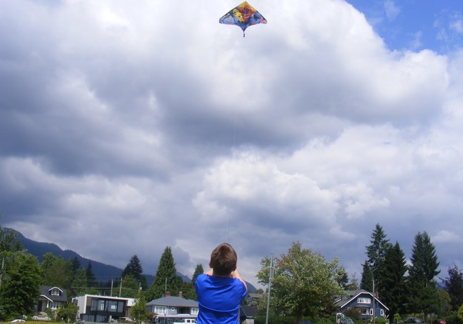 Boy Flying Kite North Vancouver, BC