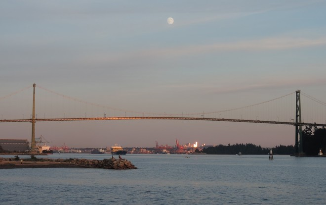 Full Moon over Lions Gate Bridge West Vancouver, BC