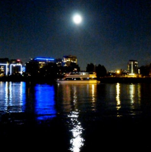 Super Moon over False Creek Mississauga, ON, Canada