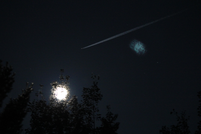 UFO near moon in Burton, New Brunswick?? Burton, New Brunswick