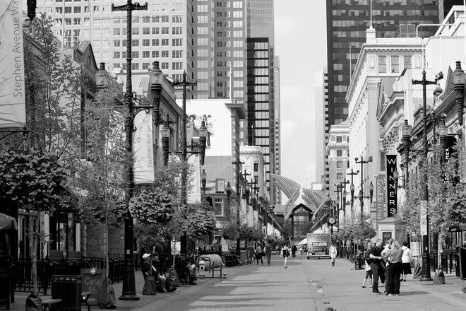 Walking the strip Downtown Calgary. calgary ab