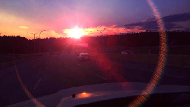 Setting sun. Fort McMurray, Alberta Canada
