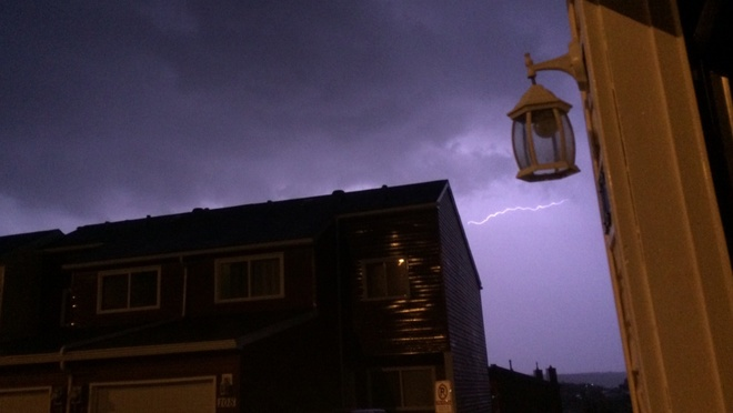 Late night lightning Abasand Heights, Alberta Canada