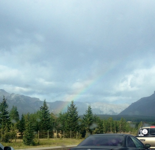 A rainbow in our way back home! Banff, Alberta Canada