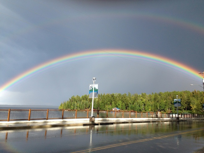 Rainbow after the storm Big Island Landing, Manitoba Canada