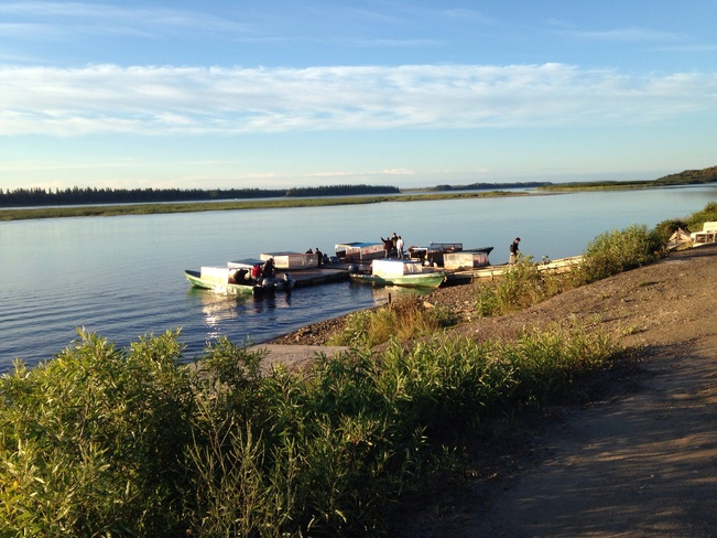 Catching a boat taxis Moose Factory, ON
