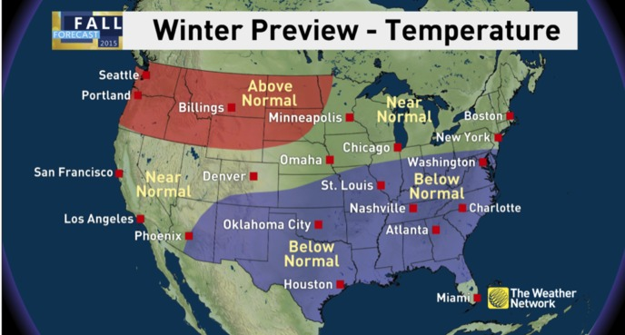 News Winter Preview El Niño Contributes To A Tale Of Two - Weather across the us map