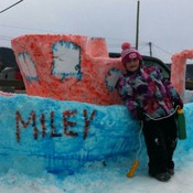 MILEY AND Poppy's Snow Sculpture