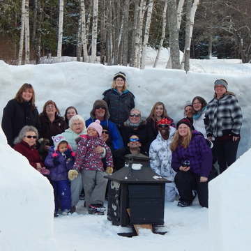 Dad's snow fort/family pic
