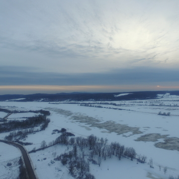 From a drone above the St. John River, Wickham NB