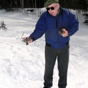 Feeding Chickadees at Panel Mine Road, Elliot Lake, ON