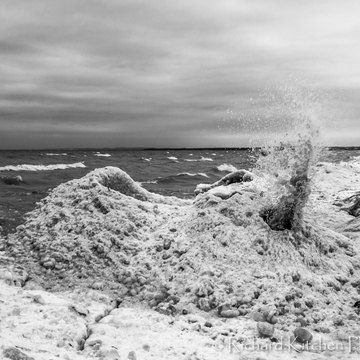 Ice Volcano and Waves Crashing