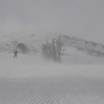 Windy Saturday slopes at Nakiska