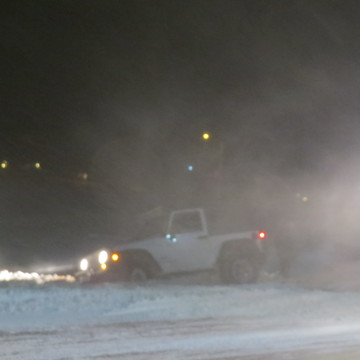 ford tows out little jeep in blizzard