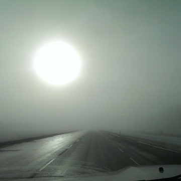 low laying fog on highway 63 Alberta