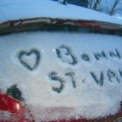 Valentin avec bordée de neige