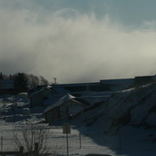Ice fog over the Bon Ami Rock.