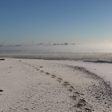 Cold winter morning - OPG Pickering plant in the distance