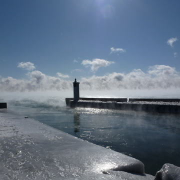 Newcastle Ontario. Mist rising off Lake Ontario in the extreme cold.