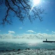 Sunshine and Mist Rising off Lake Ontario - Bond Head
