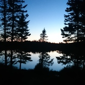call days and beautiful sunset at our cabin