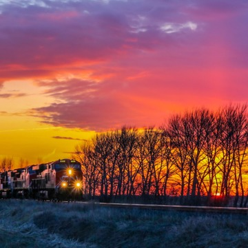 CN Train With Beautiful Prairie Sunset Living The Life! YoungShots Photography