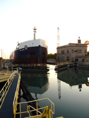 Ship coming through Lock 7 of the Welland Canal, St. Lawerence Seaway Thorold, ON