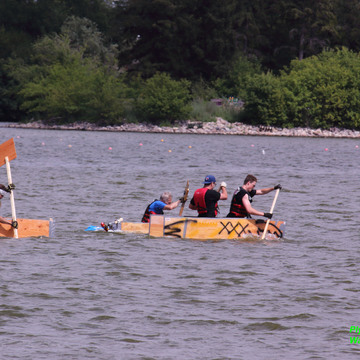 Rowing boats made of plywood held together by duct tape
